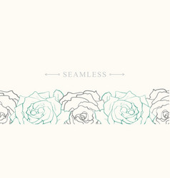 Rose flowers border seamless pattern in sketch vector