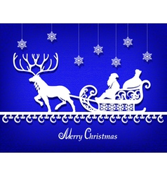 Santa claus paper silhouette on the blue texture vector