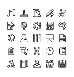 school and education line icons 2 vector image