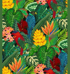 Seamless pattern with tropic parrots vector