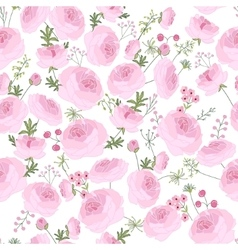 Seamless pink floral pattern with ranunculus vector