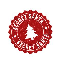 secret santa grunge stamp seal with fir-tree vector image