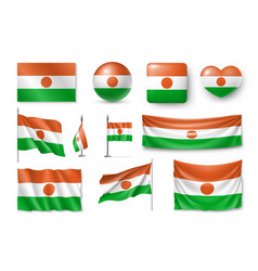 set niger flags banners symbols flat icon vector image