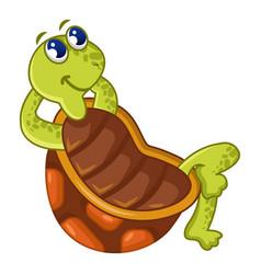 sitting turtle icon cartoon style vector image