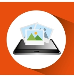 Smartphone black lying picture icon design vector