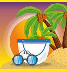 Summer bag and sun glasses over sand with a vector