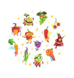 superhero vegetables pattern round shape funny vector image