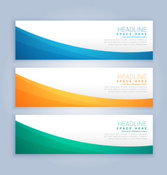 Three clean business banners and header set vector