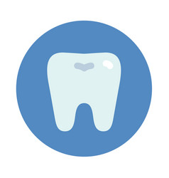 tooth icon on blue round dentist symbol vector image