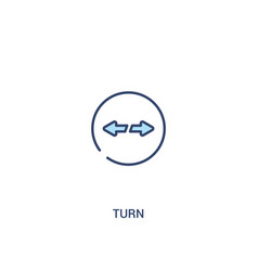 Turn concept 2 colored icon simple line element vector