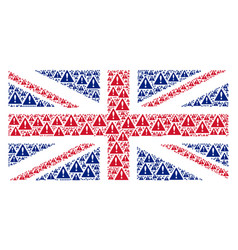 United kingdom flag pattern of warning icons vector