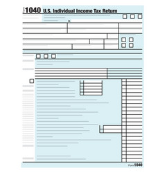 United states individual income tax return form vector