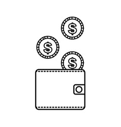 wallet money coins dollar currency vector image