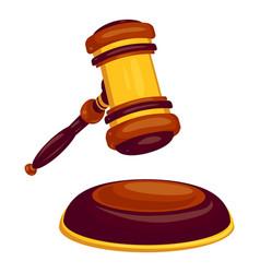 wood judge hammer icon cartoon style vector image