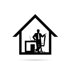 Work from home with man silhouette vector