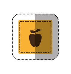 Yellow emblem apple fruit icon vector