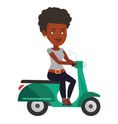 Young african-american woman riding scooter vector