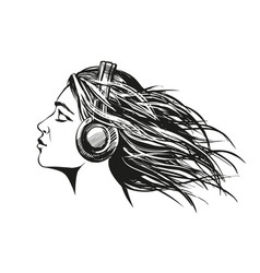 beautiful young girl listening to music on vector image vector image