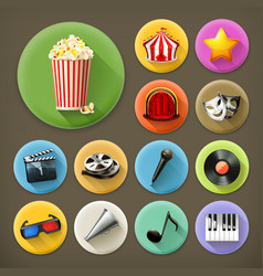 Cinema music and theater long shadow icon set vector image