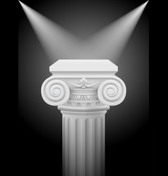 Classic ionic column with lights sources on black vector