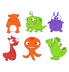 Cute monsters set three vector image vector image