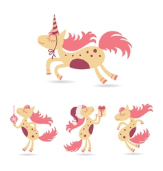 horses set for the new year and christmas vector image vector image