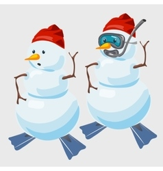 Two snowmen in red cap and with fins diver vector image