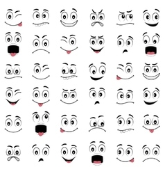 Cartoon faces with different emotions vector image vector image
