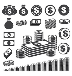 Money and coin icon set eps10 vector