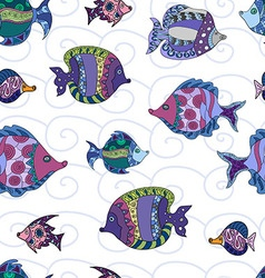 Seamless pattern with doodle fish vector image