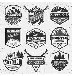 Set of monochrome outdoor camping adventure vector