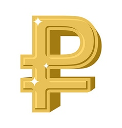 Golden Russian ruble Symbol of money in Russia vector image