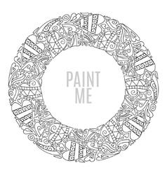 Hand drawn round frame decorative design elements vector image vector image