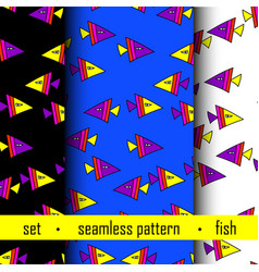set of seamless pattern with fish vector image vector image