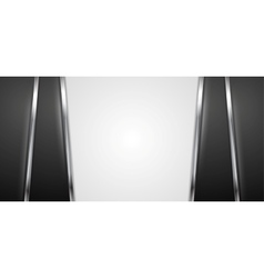 Black and white background with silver stripes vector