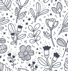Black and white decorative floral pattern vector image vector image