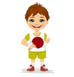 cute boy holding a table tennis racket vector image vector image