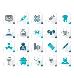 stylized healthcare medicine and hospital icons vector image vector image