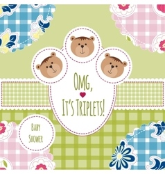 Three happy triplets Baby arrival announcement vector image vector image