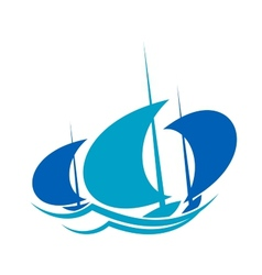 Yachts sailing on blue ocean waves vector image vector image