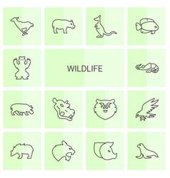 14 wildlife icons vector