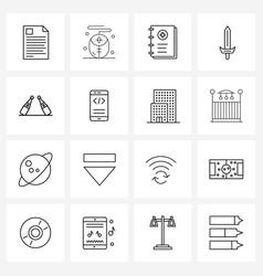 16 universal line icon pixel perfect symbols vector