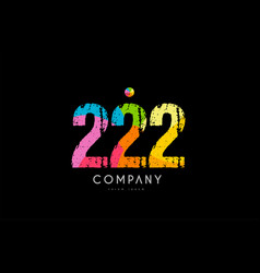222 number grunge color rainbow numeral digit logo vector image