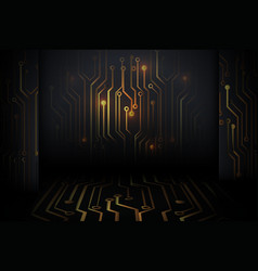 Abstract gold circuit board technology digital vector