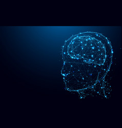 abstract head and brain from lines and triangles vector image