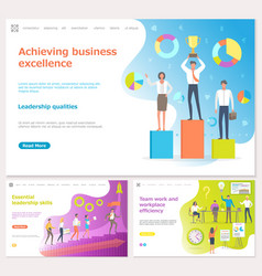 Achieving business success people with prize vector