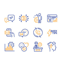 Approve quickstart guide and web report icons set vector