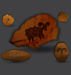 arieszodiac in the form of cave painting vector image