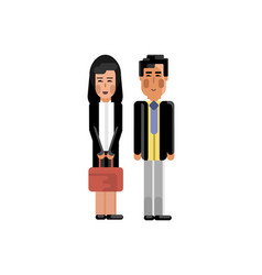 asian staff couple in business suits vector image