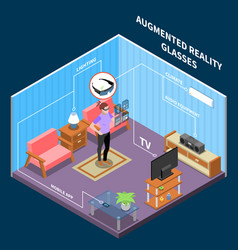 augmented reality glasses composition vector image